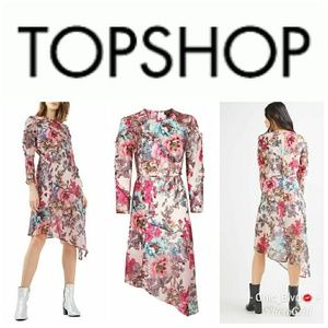 Topshop Pink Floral Ruffle  Dress